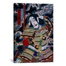 Japanese Samurai with Katana Woodblock Painting Print on Canvas