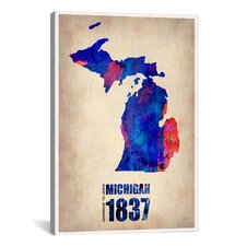 'Michigan Watercolor Map' by Naxart Graphic Art on Canvas