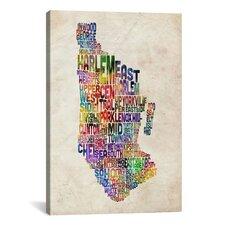 'Manhattan New York Typographic Map' by Michael Tompsett Textual Art on Canvas