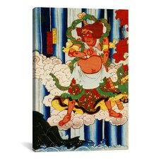 Japanese Man with Kanabo Woodblock Graphic Art on Canvas