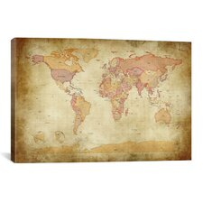 'Map of The World II' by Michael Tompsett Graphic Art on Canvas