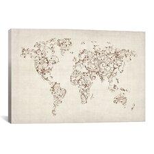 'Mapof theWorld MapFloral Swirls' by Michael Tompsett Graphic Art on Canvas