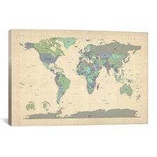 'Map of The World VI' by Michael Tompsett Graphic Art on Canvas