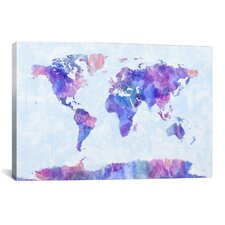 'Map of The World Paint Splashes V' by Michael Tompsett Graphic Art on Canvas