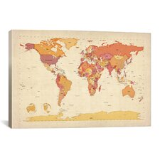 'Map of The World VII' by Michael Tompsett Graphic Art on Canvas