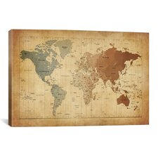 'Map of The World III' by Michael Tompsett Graphic Art on Canvas