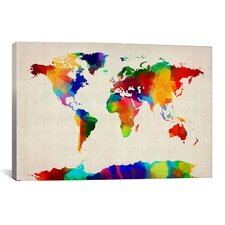 'Map of The World IV' by Michael Tompsett Painting Print on Canvas