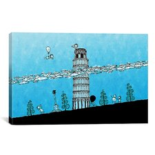 Kids Children Leaning Tower of Pisa Graphic Canvas Wall Art