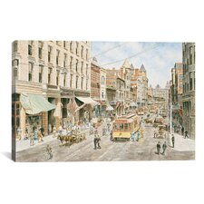 'Los Angeles, 3rd and Spring' by Stanton Manolakas Painting Print on Canvas