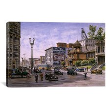 'Los Angeles: Temple and Broadway' by Stanton Manolakas Painting Print on Canvas