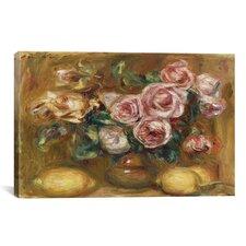 'Nature Morte: Bouquet De Roses Avec Citrons' by Pierre-Auguste Renoir Painting Print on Canvas