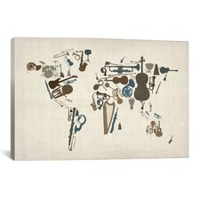'Musical Instruments Map of the World' by Michael Thompsett Graphic Art on Canvas
