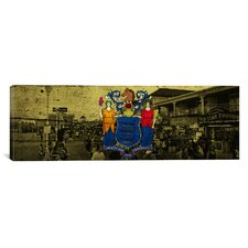 Flags New Jersey Ocean City Boardwalk Panoramic Graphic Art on Canvas