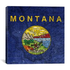 Flags Montana Map Graphic Art on Canvas