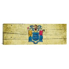 Flags New Jersey Planks Panoramic Graphic Art on Canvas