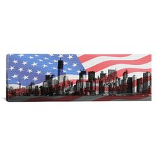 Flags New York City Panoramic Graphic Art on Canvas