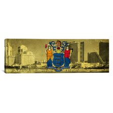 Flags New Jersey Atlantic City Hotels Panoramic Graphic Art on Canvas