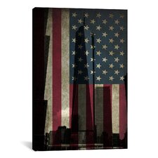 Flags New York Freedom Tower Graphic Art on Canvas
