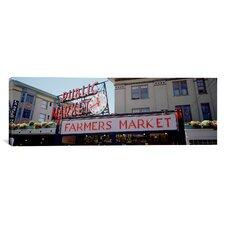 Panoramic Pike Place Market, Seattle, Washington State Photographic Print on Canvas