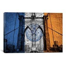 Flags New York Brooklyn Bridge Graphic Art on Canvas