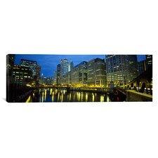 Panoramic Chicago River, Chicago, Illinois Photographic Print on Canvas