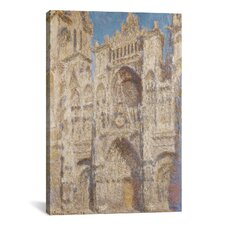 'Rouen Cathedral, the Portal (Sunlight) 1894' by Claude Monet Painting Print on Canvas