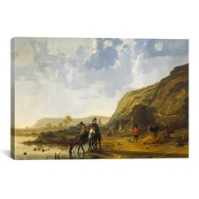 River Landscape with Riders by Aelbert Cuyp Painting Print on Canvas