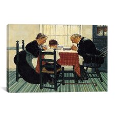 'Family Grace (Pray)' by Norman Rockwell Painting Print on Canvas