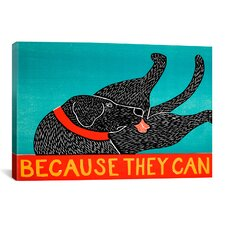 Stephen Huneck Because They Can Graphic Art on Canvas in Black