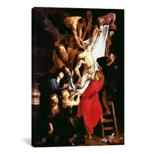 'The Descent from the Cross, Central Panel of the Triptych' by Peter Paul Rubens Painting Print on Canvas