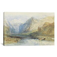 'The Domleschg Valley, Looking North to the Gorge at Rothenbrunnen' by Joseph William Turner Painting Print on Canvas
