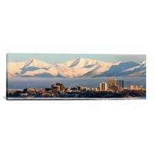 Anchorage Panoramic Skyline Cityscape Photographic Print on Canvas in Orange