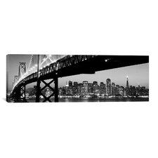 Panoramic 'San Francisco Skyline Cityscape (Night)' Photographic Print on Canvas