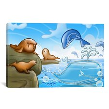 Kids Children Seals Dolphins and Whale Cartoon Play Room Canvas Wall Art