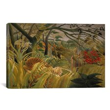 'Tiger in a Tropical Storm (Surprised) 1891' by Henri Rousseau Painting Print on Canvas
