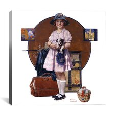 'Vacation's Over (Girl Returning From Summer Trip)' by Norman Rockwell Painting Print on Canvas