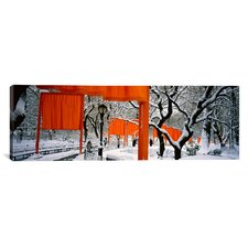 Panoramic New York, New York City, Central Park, People Walking in the The Gates Photographic Print on Canvas