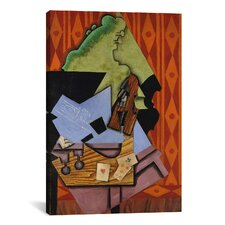 'Violin and Playing Cards on a Table' by Juan Gris Painting Print on Canvas