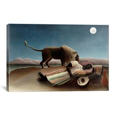 'Sleeping Gypsy 1897' by Henri Rousseau Painting Print on Canvas