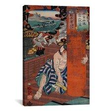 Japanese Art 'Station #19 of Kisokaido Road' by Kuniyoshi Painting Print on Canvas