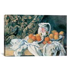 'Still Life with a Curtain 1895' by Paul Cezanne Painting Print on Wrapped Canvas