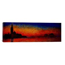 'Sunset in Venice' (Panoramic) by Claude Monet Painting Print on Wrapped Canvas
