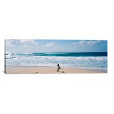 Panoramic Surfer Standing on the Beach, North Shore, Oahu, Hawaii Photographic Print on Wrapped Canvas