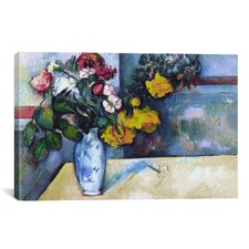 'Still Life: Flowers in a Vase' by Paul Cezanne Painting Print on Wrapped Canvas