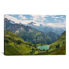 Scenic Swiss Alps Spring Mountain Landscape Photographic Print on Canvas