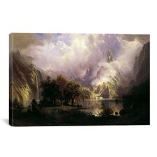'View of Rocky Mountains' by Albert Bierstadt Painting Print on Canvas