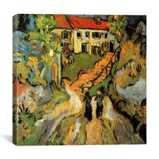 """""""Village Street and Steps in Auvers with Two Figures"""" by Vincent Van Gogh Painting Print on Wrapped Canvas"""