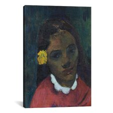 'Tete De Tahitienne or La Fleur Qui Ecoute 1891' by Paul Gauguin Painting Print on Wrapped Canvas