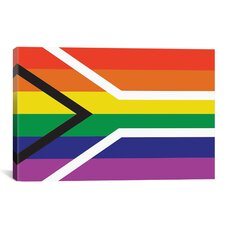 South African LGBT Pride Rainbow Flag Graphic Art on Wrapped Canvas