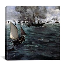 """The Battle of The USS Kearsarge and CSS Alabama"" by Edouard Manet Painting Print on Wrapped Canvas"